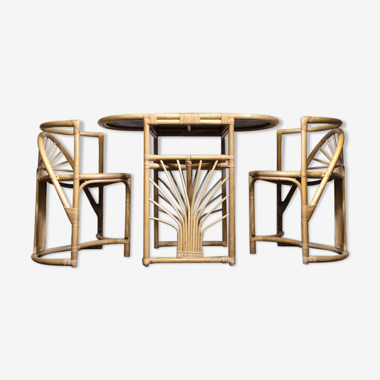 Table Chaises Salle A Manger En Osier Bambou Rotin Tiki Rotin Et