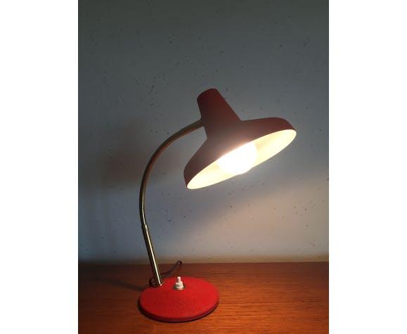 Lampe bureau rouge vintage, années 60