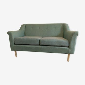 2-seater fabric sofa green