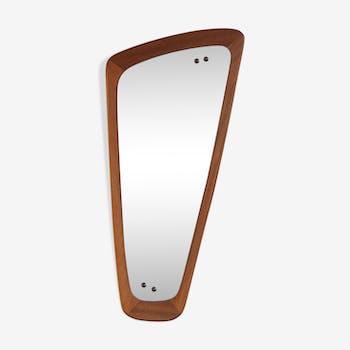 Asymmetrical teak mirror 35x76cm