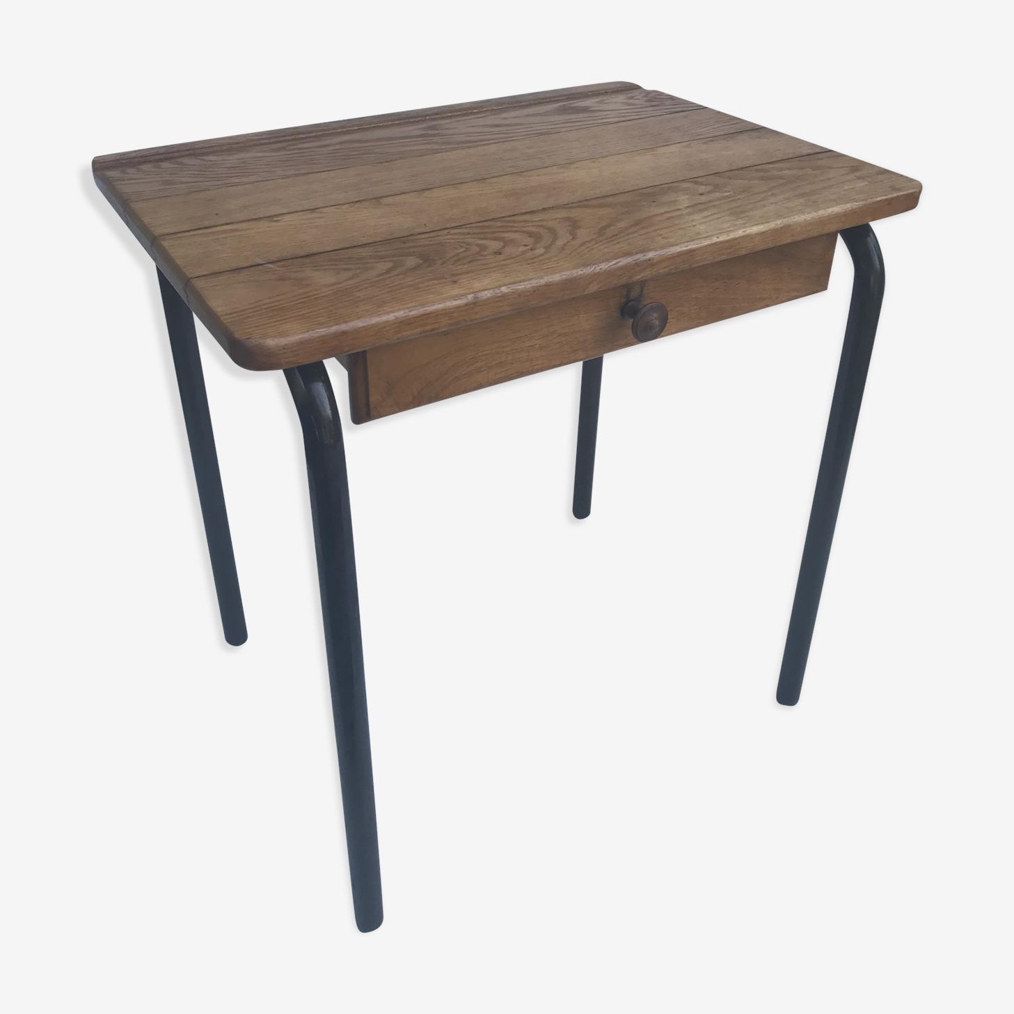 Table desk school child metal black and wood 50's vintage