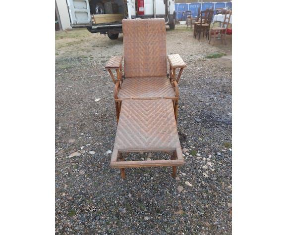 Chaise longue bambou et rotin 1900
