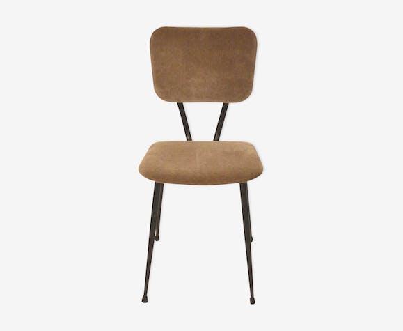 Chair years 50 retapissee velvet taupe