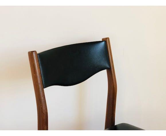 Set de 6 chaises scandinave en teck et skaï noir 1960