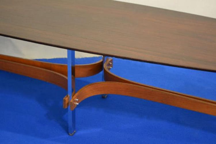 Mid-Century Rosewood Oval Chromed Coffee Table by Guglielmo Ulrich