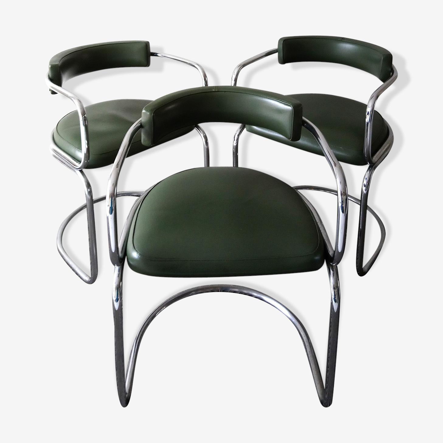 Ensemble de 3 chaises  des années 70