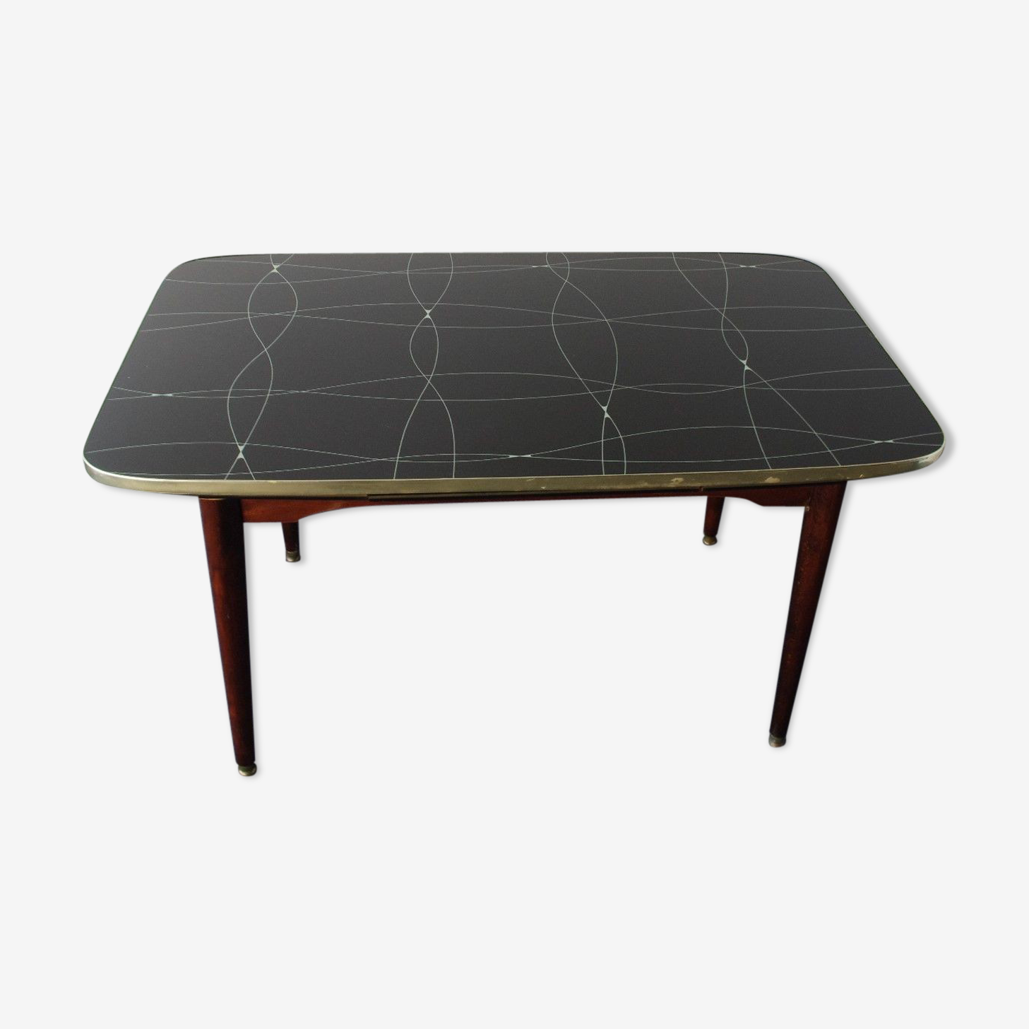 Folding table with black and gold painted glass, 1950