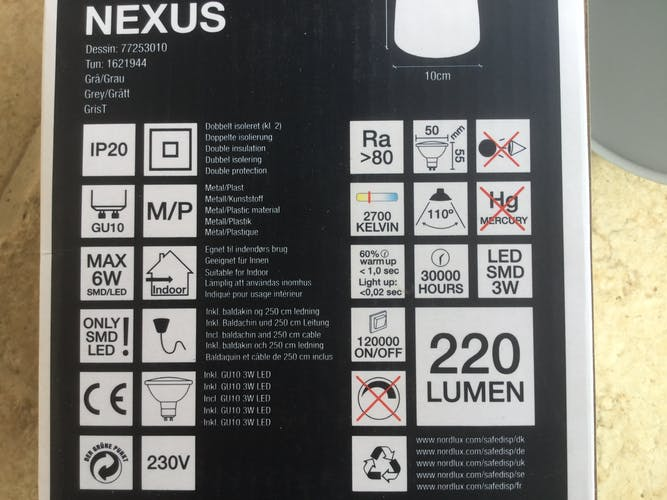 Suspension Nordlux « Nexus 10 » gris