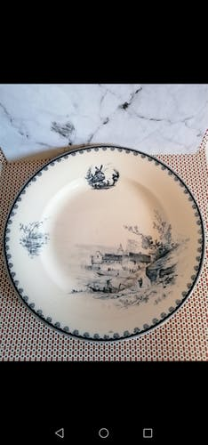 Former plate earthenware iron earth, blue landscape décor, Vermont - Blanchet Paris 19th