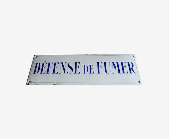 """Ancienne plaque émaillée """" Defense de fumer """" émaillerie lyonnaise 50cm x 16cm"""
