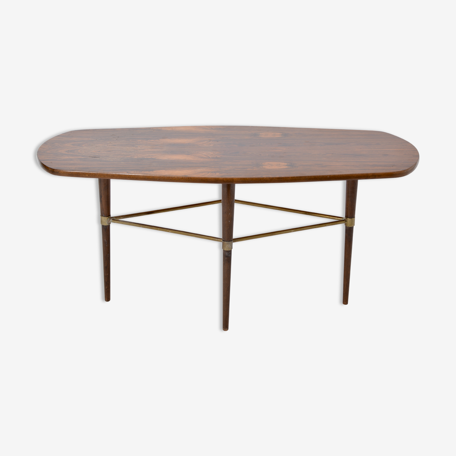 Swedish coffee table in rosewood and brass by Förenades Möbler