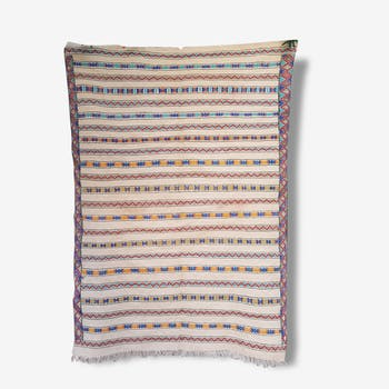 Tapis blanc et couleurs en laine tissé, 185x250