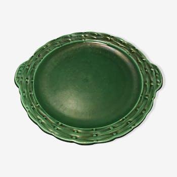 Plat en céramique vert émeraude Vallauris
