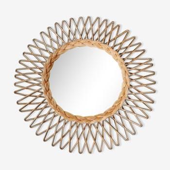 Miroirs vintage et anciens d 39 occasion for Miroir soleil osier