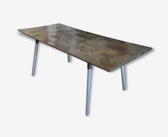 table en fer bross ann e 60 ancienne loft usine atelier salle manger m tal m tal noir. Black Bedroom Furniture Sets. Home Design Ideas