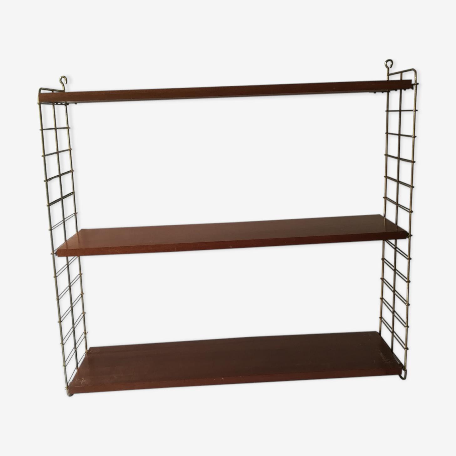 String shelf 1960 brass and teak