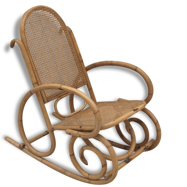 rocking chair rotin cannage 70 rotin et osier marron vintage 111819. Black Bedroom Furniture Sets. Home Design Ideas