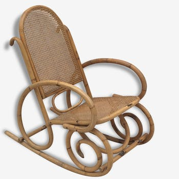 Rocking-chair rotin & cannage 70
