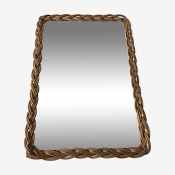 Miroir rotin vintage 33x23cm