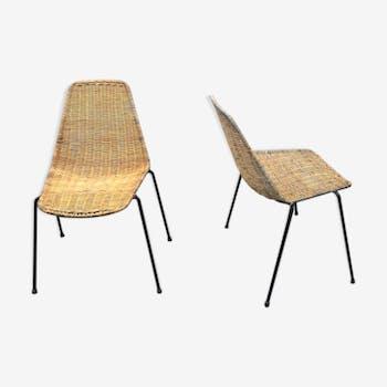Paire de chaises rotin et métal 1950