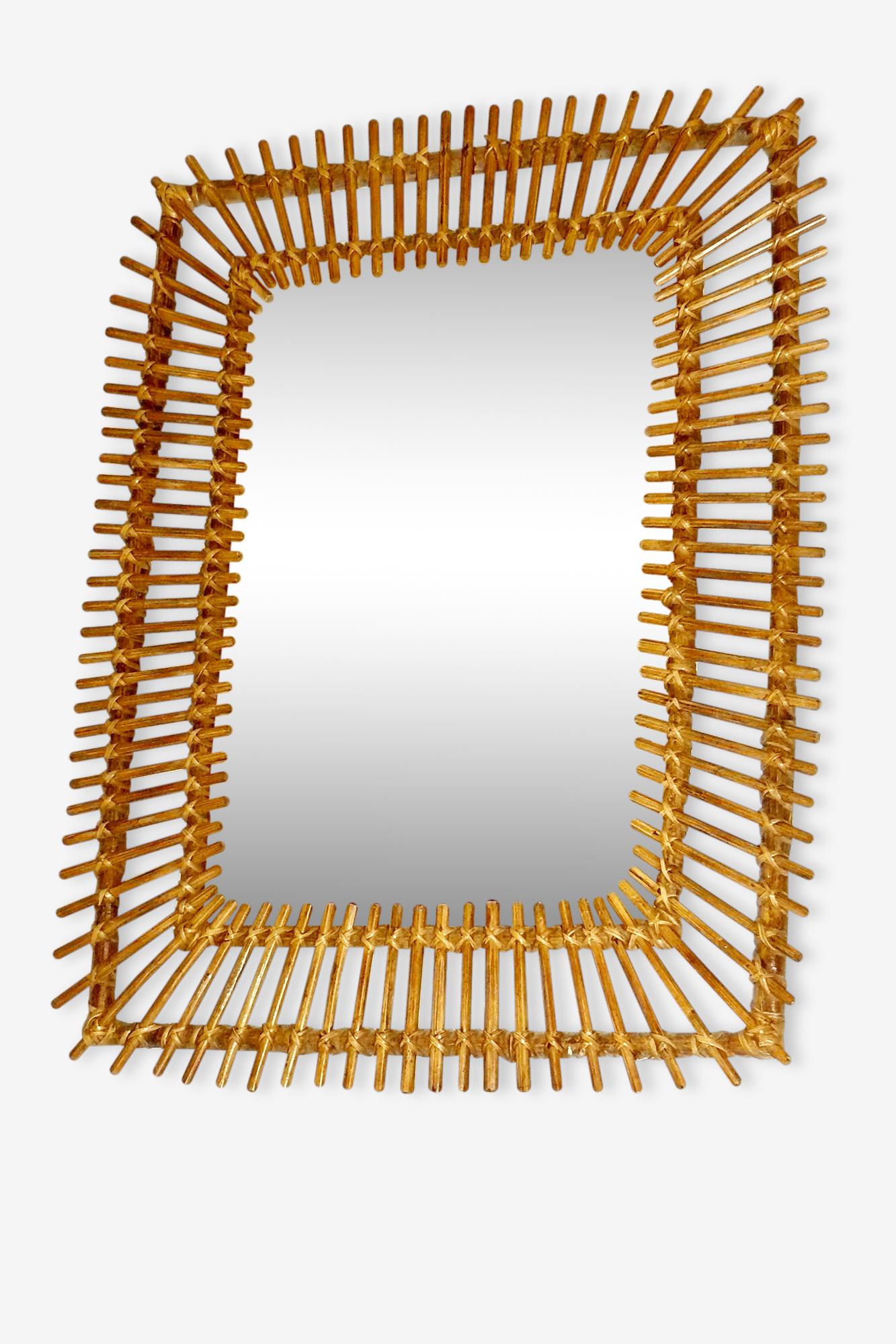 Grand miroir en rotin rectangle