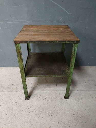 Old industrial factory table Kitchen island green