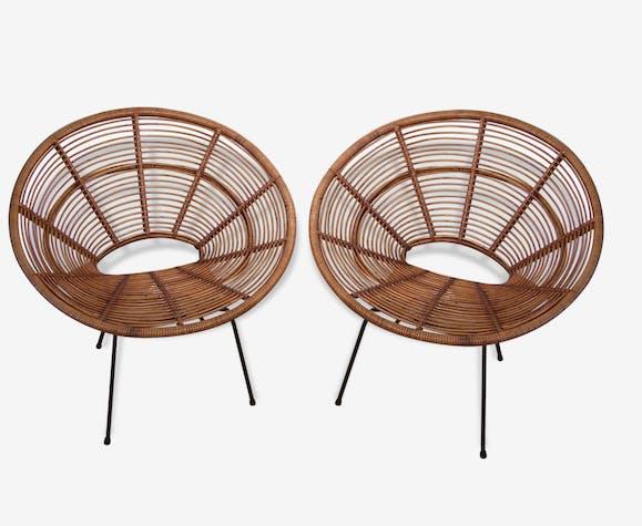paire de fauteuils soleil de janine abraham et dirk jan rol en rotin rotin et osier bois. Black Bedroom Furniture Sets. Home Design Ideas