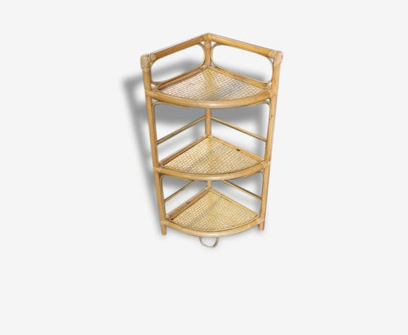 Petit meuble d 39 angle en rotin rotin et osier vintage Petit meuble d angle