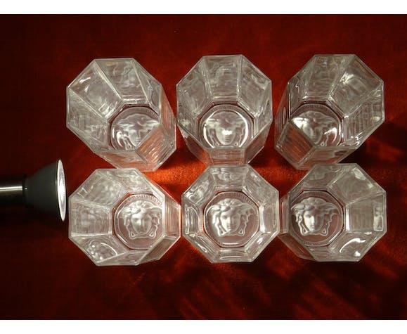 Série de 6 verres tumbler Versace Médusa Lumière cristal Rosenthal ht 15 cm