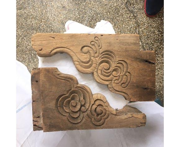 Paire d'éléments de charpente japonais provenant d'un temple
