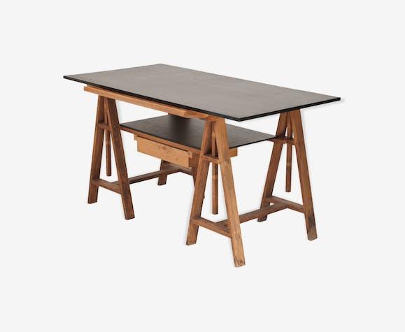 table dessin bureau d 39 architecte ann es 50 bois. Black Bedroom Furniture Sets. Home Design Ideas