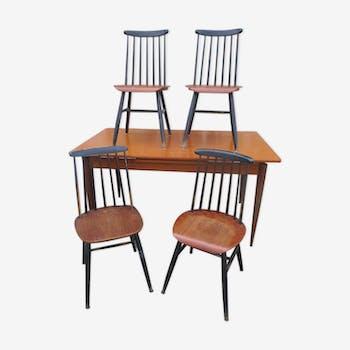 Table de salle manger vintage d 39 occasion - Ensemble tafel et chaise salle a trog ...