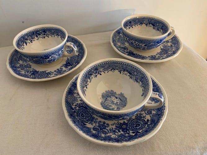 Set de 8 tasses à café et 8 sous tasses bleues et blanches Villeroy et Boch Burgenland 1950