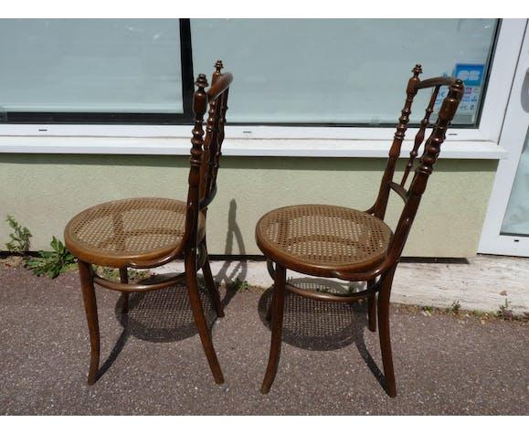 Paire de chaises de bistrot cannage et bois