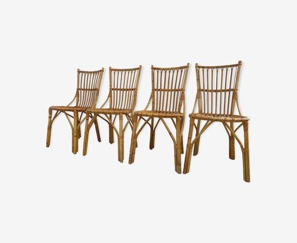 4 chaises en rotin annees 50-60