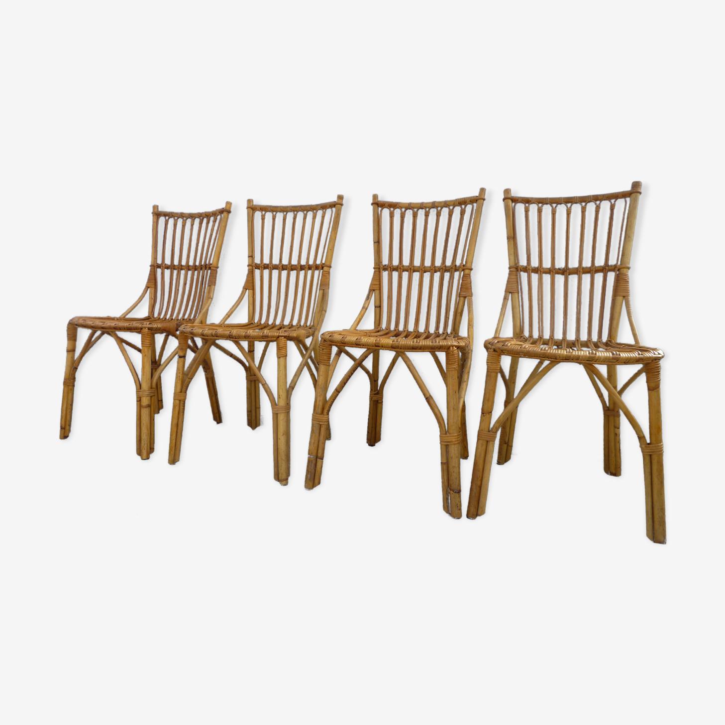 4 rattan chairs 50-60's