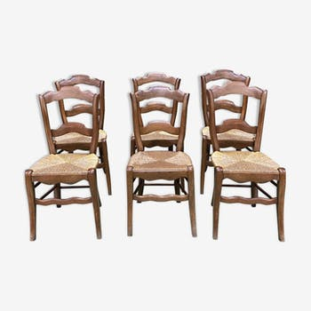 Suite of 6 walnut and straw seating country chairs - early 20th century