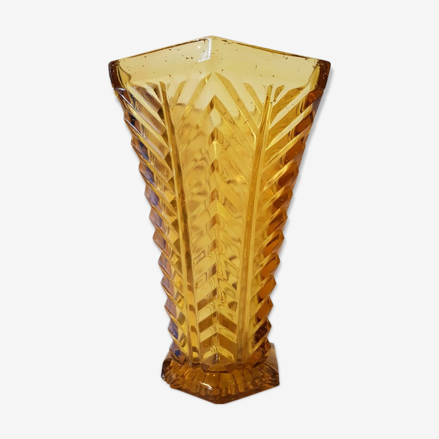 Vase red glass thick art deco style