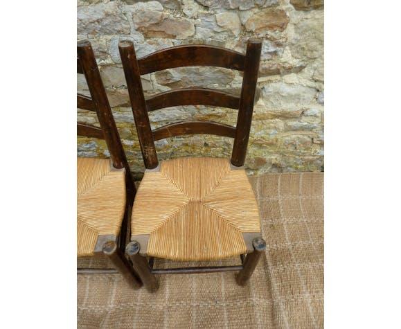 Paire de chaises paillées années 60