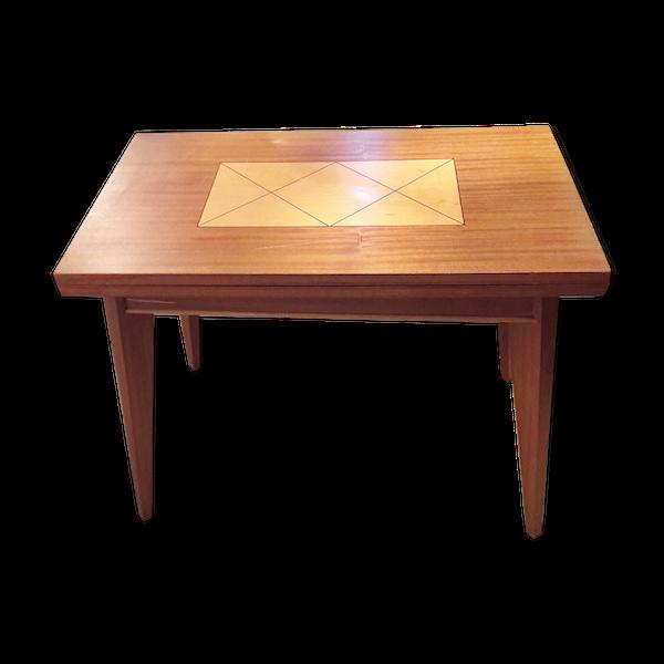 Table de jeu modulable pieds compas années 60 marqueterie