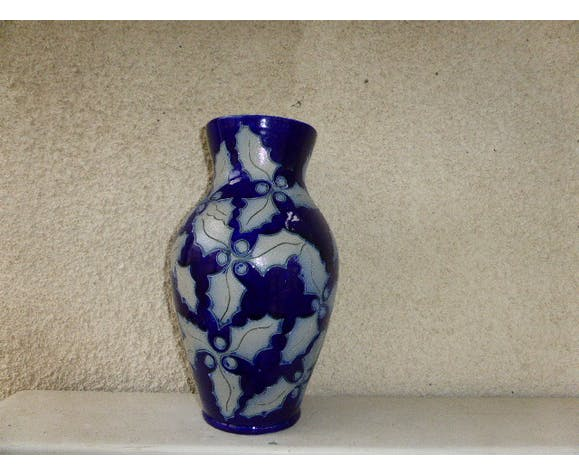 Alsace stoneware vase, blue marine, ground leaves of Holly, estmpille and numbered vintage