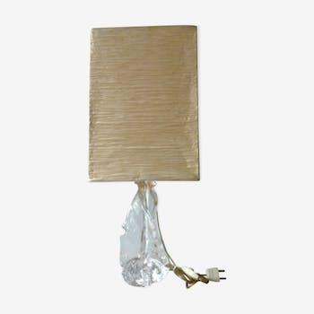 Lampe avec pied en verre bullé forme libre années 70