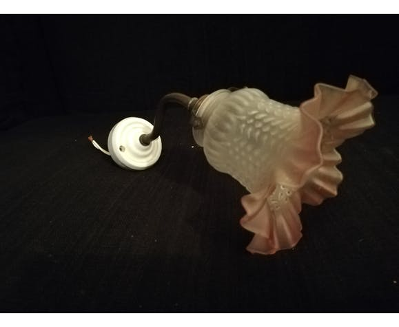 Wall sconce in ceramic swan collar shaped and glass