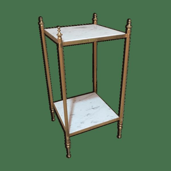 table d 39 appoint marbre et laiton marbre blanc vintage cxqey9u. Black Bedroom Furniture Sets. Home Design Ideas