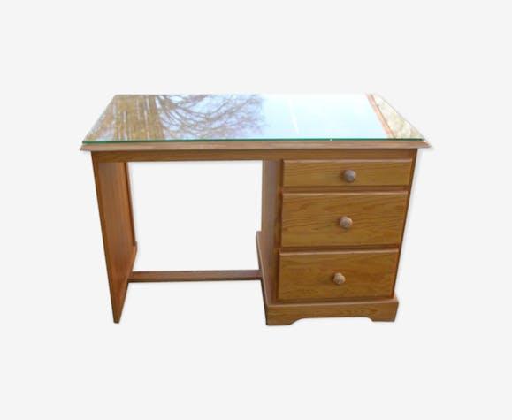 Bureau en pin massif avec 3 tiroirs plateau en bois avec verre de protection