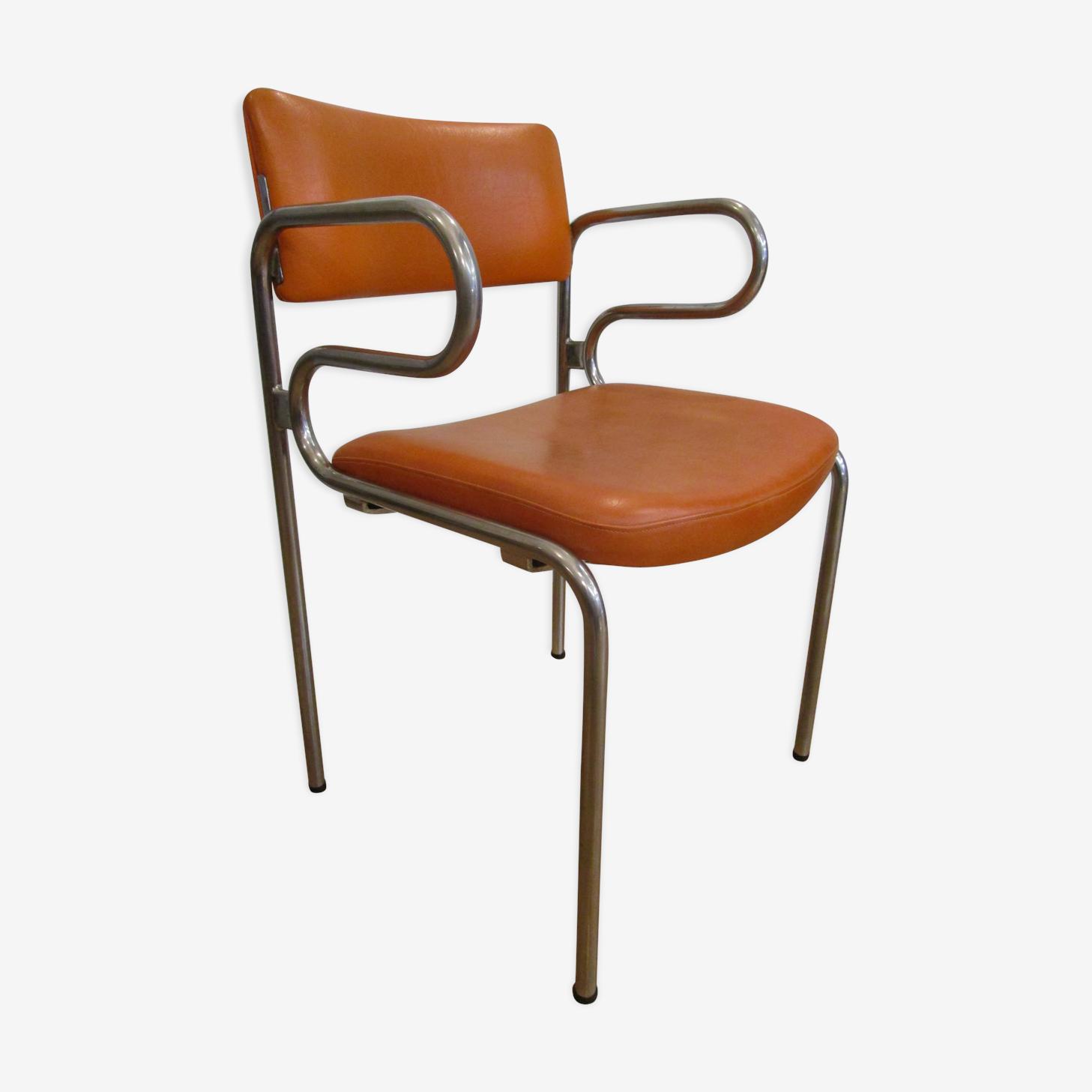 Chair armrests base metal 70s orange design