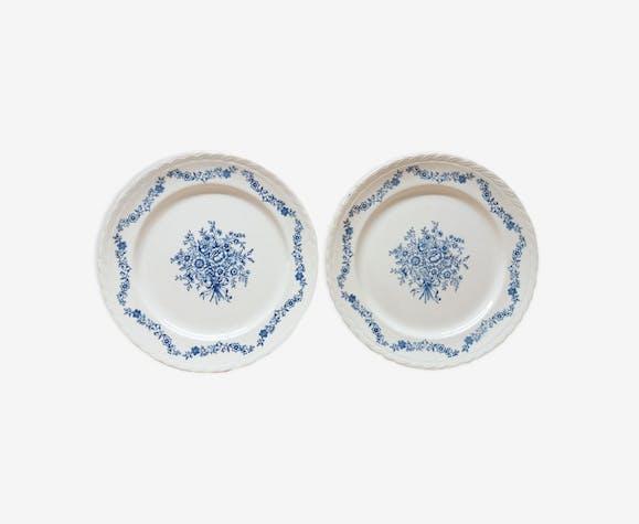 Paire assiettes plates bouquet de fleurs bleu