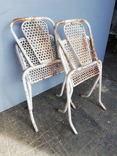 Chaises Malaval René  pliable métal perforé vintage époque 1950/60