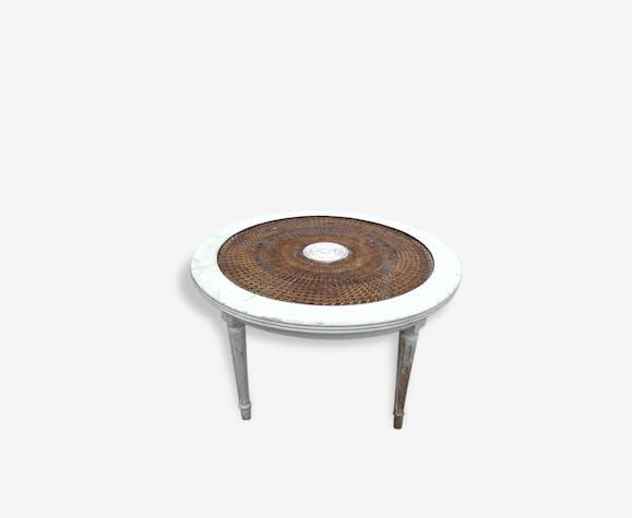 Table basse ronde de jardin ancienne, bois et cannage - bois ...