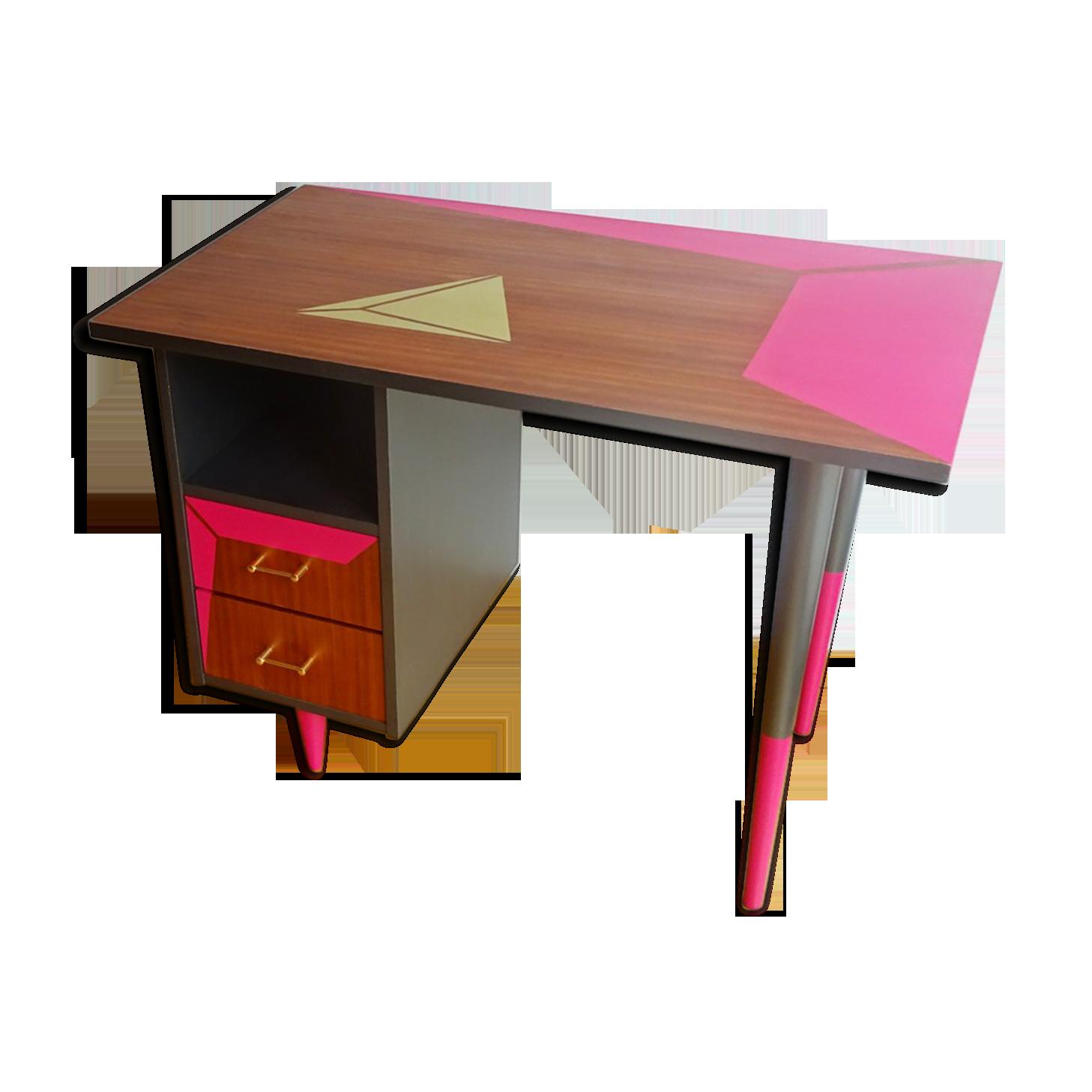 Bureau en bois teck relooké bois matériau bois couleur